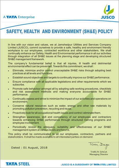 Safety, Health, and Environment (SH&E) Policy